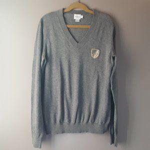 Calvin Klein Youth V neck Grey Cotton Sweater | M